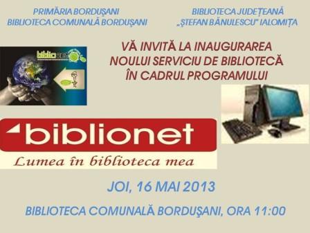 Deschidere BIBLIONET Bordusani